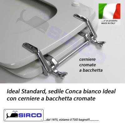 Sedile conca cerniere a bacchetta bianco varianti ideal for Ideal standard conca