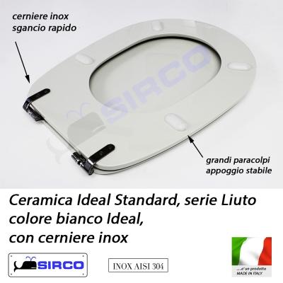 Sedile liuto bianco cerniere inox varianti ideal standard for Ideal standard liuto