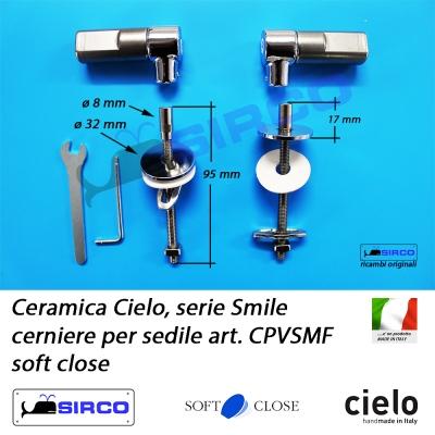Normale Copriwater per CIELO SMILE NEW 53 SOSPESO TERMOINDURENTE BIANCO cerniera inox normale o rallentata soft close Cerniera//Chiusura
